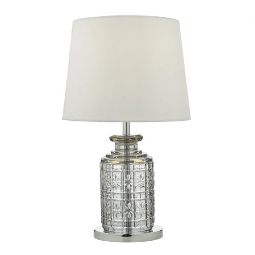 Evita Table Lamp Touch Clear Polished Chrome complete with Shade TXEVI4208-17